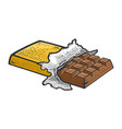 chocolate bar sketch engraving vector image