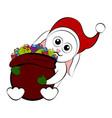 christmas rabbit holding a present bag vector image vector image