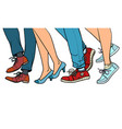 close-up legs people walking vector image