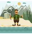 Concept flat design with hunter and selfie stick vector image vector image