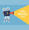 cool retro movie projector poster leaflet or vector image
