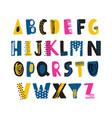 cute childish latin font or funky english alphabet vector image