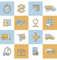 Delivery icons set flat line vector image