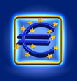 Euro currency sign neon icon vector image vector image