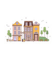 exterior view elegant residential buildings of vector image vector image