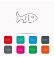 Fish icon Seafood sign Vegetarian food symbol vector image vector image