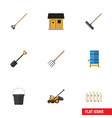 flat icon farm set of tool spade lawn mower and vector image vector image