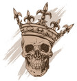 graphic brown human skull with royal king crown vector image vector image