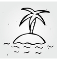 Hand drawn desert island palm tree and sea vector image vector image