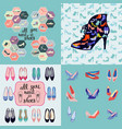 hand drawn set fashion background and icons vector image vector image
