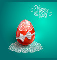 happy easter card with lace bow egg vector image vector image