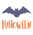 Happy halloween emblem with a bat silhouette and vector image vector image