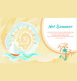 hot summer poster with abstract sky and sailboat vector image vector image