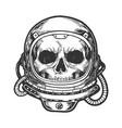human skull in astronaut helmet sketch engraving vector image vector image