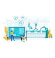 innovation laptop assembly robotic conveyor line vector image