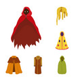 isolated object of cloak and clothes icon set of vector image