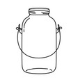 line long mason glass with wire handle design vector image vector image