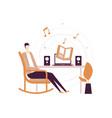 listening to audiobooks - flat design style vector image