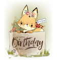 little fox with flowers vector image