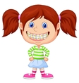 Little girl cartoon with brackets vector image vector image