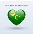 Love Cocos and Keeling Islands symbol Heart flag vector image vector image