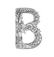 mandala letter b monogram adult coloring book vector image vector image