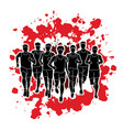 marathon runners group of people running men run vector image vector image