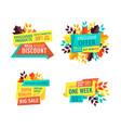 mega discount with big sale promo emblems set vector image vector image