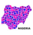 mosaic nigeria map of square elements vector image vector image