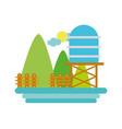 mountains with water tank towel and grid wood vector image vector image