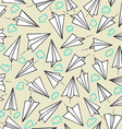 Paper planes and clouds seamless texture on a vector image