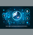 people analyst manager bitcoin start up poster vector image vector image