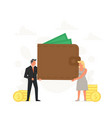 people hold a large purse concept storage vector image