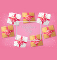 pink romantic card with gift boxes vector image vector image