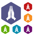prayer icons set hexagon vector image vector image