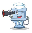 sailor with binocular toilet character cartoon vector image vector image