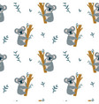 seamless modern childish pattern with cute koala vector image vector image