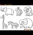 set animal characters color book vector image vector image