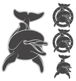 set emblem with logo a dolphin vector image