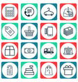 set of 16 ecommerce icons includes mobile service vector image vector image