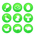 Set of Farm and Agriculture icons in green color vector image vector image
