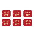 set of price tags yellow text on red textural vector image vector image