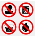 set of signs prohibiting washing the use of water vector image vector image