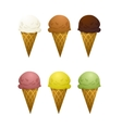 Set of six ice cream cone with different tastes vector image