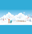 ski resort with cable cars or aerial lift and vector image vector image