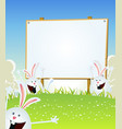 spring easter bunnies message on wood sign vector image vector image