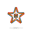 star with Moldova flag colors and symbols design vector image vector image