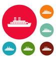 steamship icons circle set vector image vector image