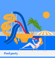 summer pool party in water park with slides vector image vector image