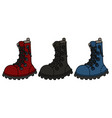 three funny color leather boots vector image vector image